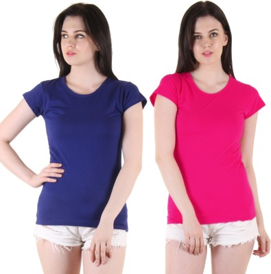 Diaz Casual Short Sleeve Solid Women Blue, Pink Top