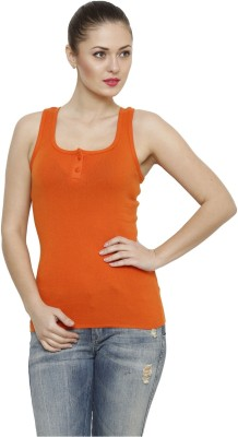 Renka Casual Sleeveless Solid Women's Orange Top