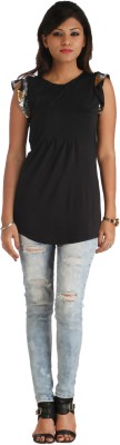 Heritage Tycoon Casual Short Sleeve Solid, Printed Women's Black Top
