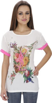 Svt Ada Collections Casual Short Sleeve Solid Women White Top
