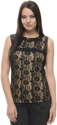 Mayra Casual Sleeveless Lace Women Black Top at flipkart