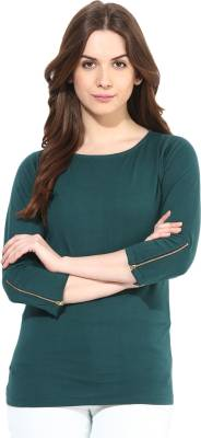 Miss Chase Casual 3/4th Sleeve Solid Women's Green Top