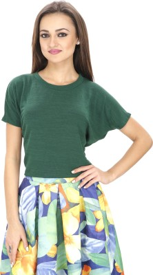 Svt Ada Collections Casual Short Sleeve Solid Women Green Top