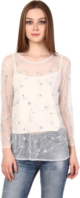 Oxolloxo Party Full Sleeve Solid Women White Top at flipkart