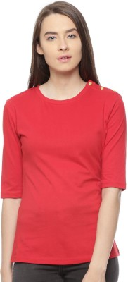 Vvoguish Casual 3/4 Sleeve Solid Women Red Top