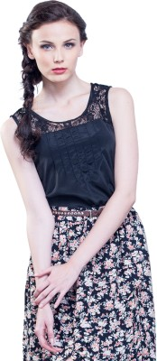 FabAlley Formal Sleeveless Printed Women Black Top at flipkart