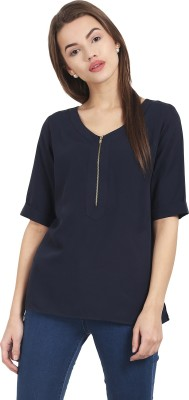 Diaz Casual Short Sleeve Solid Women Black, Blue Top