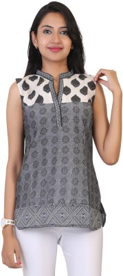 MISH Casual Sleeveless Floral Print Women Grey Top