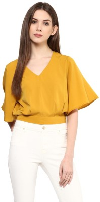 HARPA Casual Bell Sleeve Solid Women Yellow Top