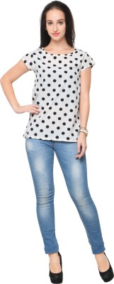 Ahalyaa Formal Cap Sleeve Printed Women White Top