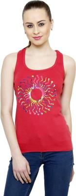 Renka Casual Sleeveless Printed Women's Orange Top
