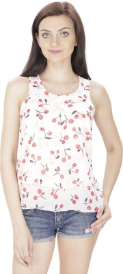 Svt Ada Collections Casual Sleeveless Floral Print Women White Top
