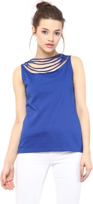 Miss Chase Casual Sleeveless Solid Women Blue Top Miss Chase Women's Tops