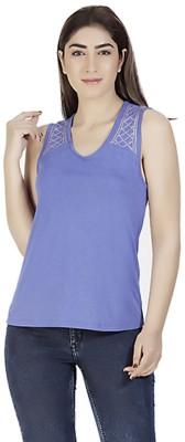 Gudi Casual Sleeveless Embellished Women's Blue Top