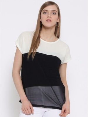 Silly People Casual Short Sleeve Solid Women Black Top Silly People Women's Tops
