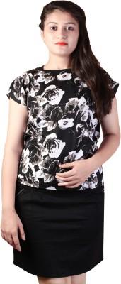 d'lyric Casual Short Sleeve Floral Print Women Black Top d'lyric Women's Tops