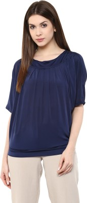 MAYRA Party Short Sleeve Solid Women Dark Blue Top MAYRA Women\'s Tops