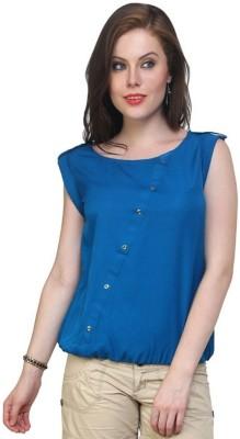 Pannkh Casual Cap Sleeve Solid Women Blue Top at flipkart