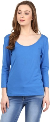 Harpa Casual 3/4 Sleeve Solid Women Blue Top at flipkart