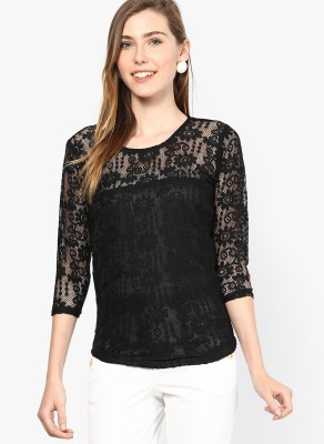 MAYRA Party 3/4 Sleeve Self Design, Solid Women Black Top MAYRA Women's Tops