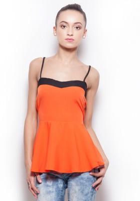 Popnetic Casual Sleeveless Solid Women Orange Top