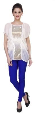 IshinDesignerStudio Casual Cap Sleeve Solid Women's White Top