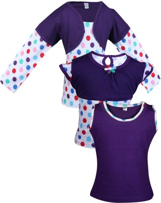 Gkidz Girls Casual Cotton Top(Purple, Pack of 3)