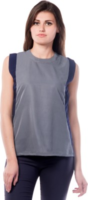 Miss Chase Casual Sleeveless Solid Women Grey Top at flipkart