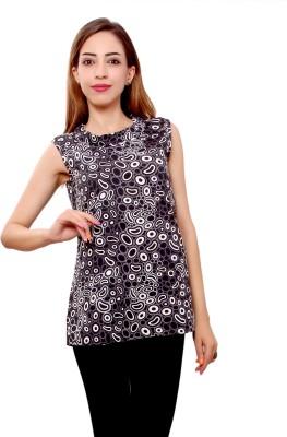 GMI Casual Sleeveless Printed Women Black Top GMI Women's Tops