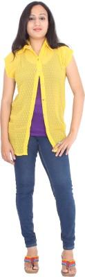 Rasi Silks Casual Short Sleeve Solid Women's Yellow Top