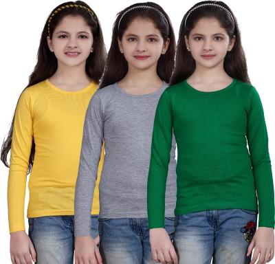 SINI MINI Girls Casual Cotton Blend Top Multicolor, Pack of 3 SINI MINI Kids' Tops