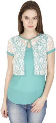 Pinaki Casual Short Sleeve Solid Women's Green Top