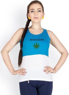 Campus Sutra Casual Sleeveless Printed Women Blue Top at flipkart