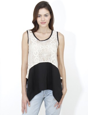 Mayra Casual Sleeveless Solid Women White Top Mayra Women's Tops
