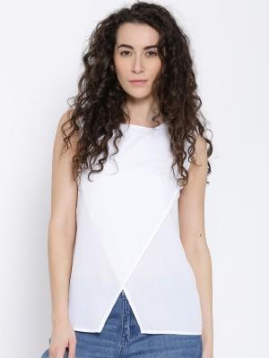 Popnetic Casual Sleeveless Solid Women White Top Popnetic Women's Tops