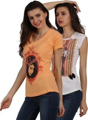 Skidlers Casual Short Sleeve Printed Women Multicolor Top