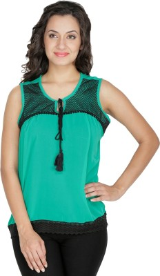 Mayra Party Sleeveless Self Design Women Green Top Mayra Women\'s Tops