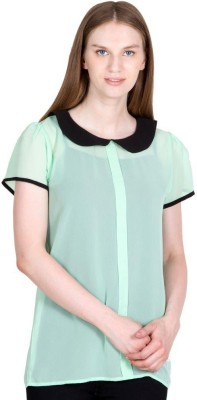 Global Elle Casual Short Sleeve Solid Women's Green Top