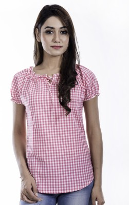 Amadore Casual Puff Sleeve Checkered Women