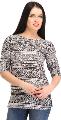 Cottinfab Casual Half Sleeve Printed Women White, Black Top at flipkart