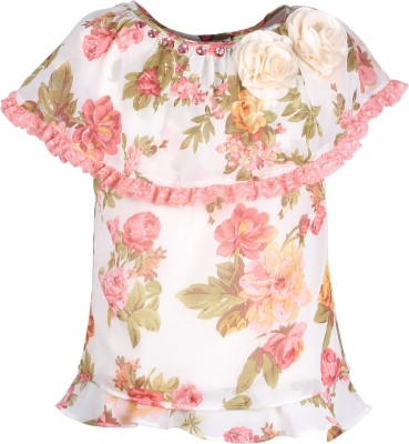Cutecumber Baby Girls Party Poly Georgette Layered Top(Pack of 1) at flipkart
