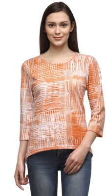 Tunic Nation Casual 3/4th Sleeve Checkered Women's Orange Top