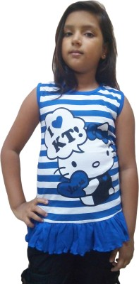 Instyle Girls Casual Cotton Top(Blue, Pack of 1)