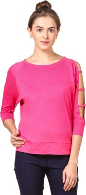 Fashion Expo Casual Cutout Sleeve Solid Women Pink Top