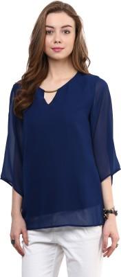 Rare Casual Kimono Sleeve Solid Women Blue Top