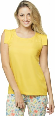 Miss Chase Casual Sleeveless Solid Women Yellow Top