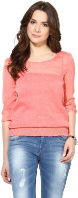 Harpa Casual 3/4 Sleeve Polka Print Women Orange Top at flipkart