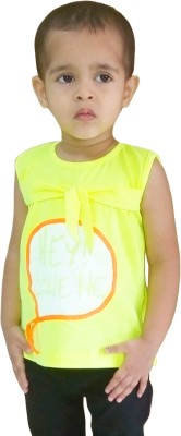 Instyle Girls Casual Cotton Top(Yellow, Pack of 1)