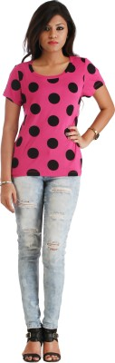 Heritage Tycoon Casual Short Sleeve Polka Print Women's Pink, Black Top