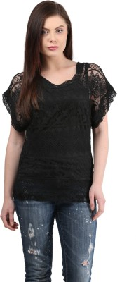 MAYRA Casual Short Sleeve Solid Women Black Top MAYRA Women's Tops